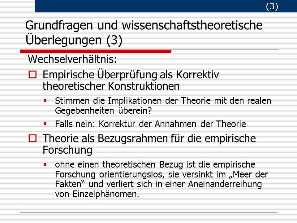 (3) (3) Wechselverhältnis: Empirische Überprüfung als Korrektiv theoretischer Konstruktionen Stimmen die Implikationen der Theorie mit den realen Gegebenheiten überein.