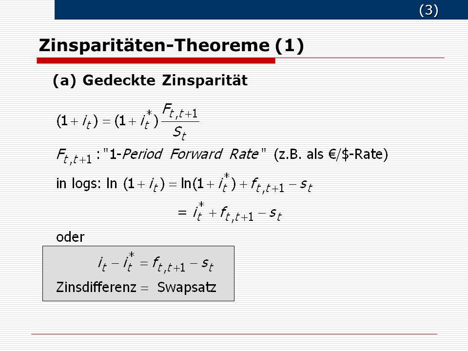 (3) (3) Zinsparitäten-Theoreme (1) (a) Gedeckte Zinsparität