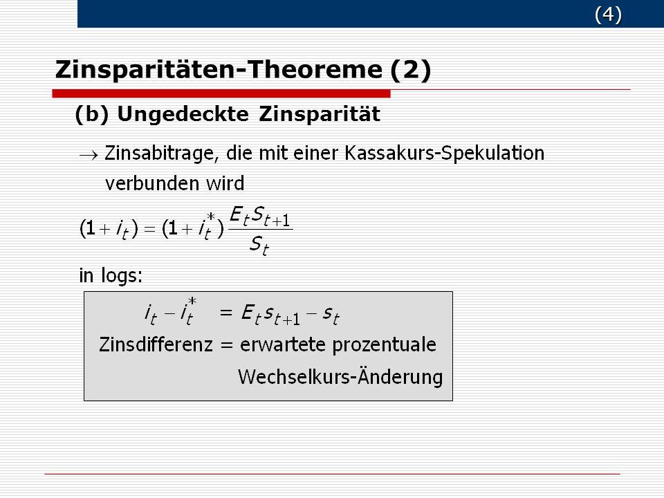 (4) (4) Zinsparitäten-Theoreme (2) (b) Ungedeckte Zinsparität