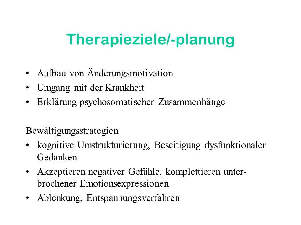 Therapieziele/-planung Aufbau von Änderungsmotivation Umgang mit der Krankheit Erklärung psychosomatischer Zusammenhänge Bewältigungsstrategien kognit