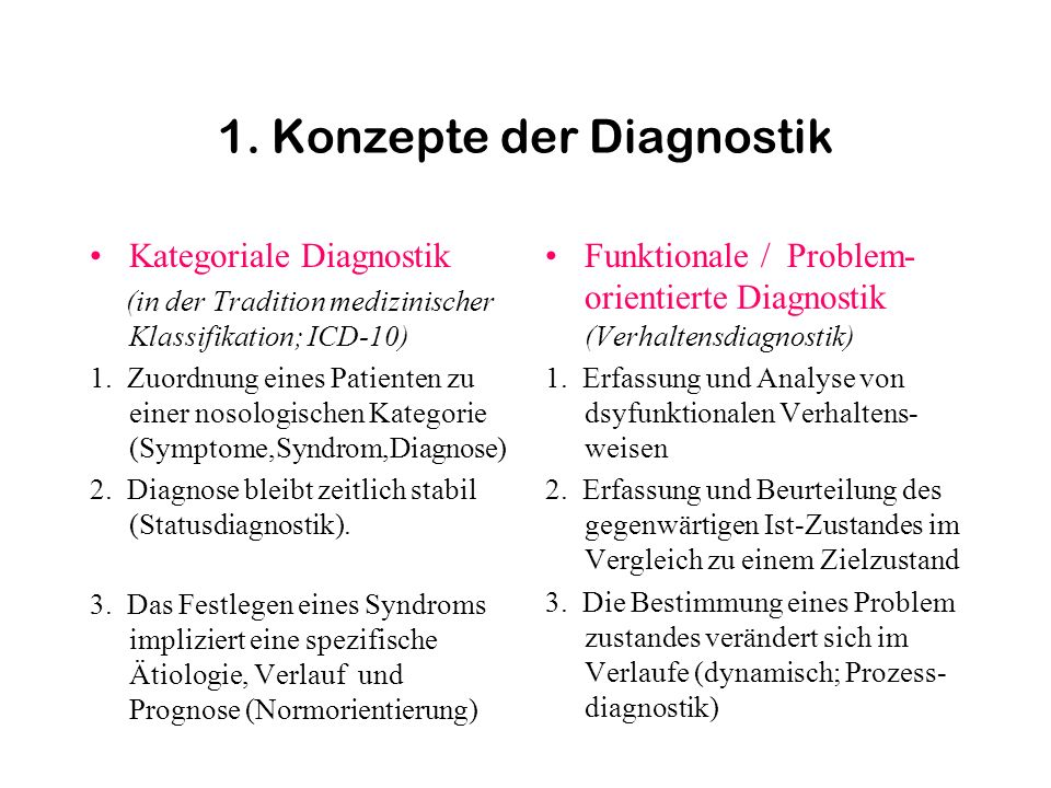 1. Konzepte der Diagnostik Kategoriale Diagnostik (in der Tradition medizinischer Klassifikation; ICD-10) 1. Zuordnung eines Patienten zu einer nosolo