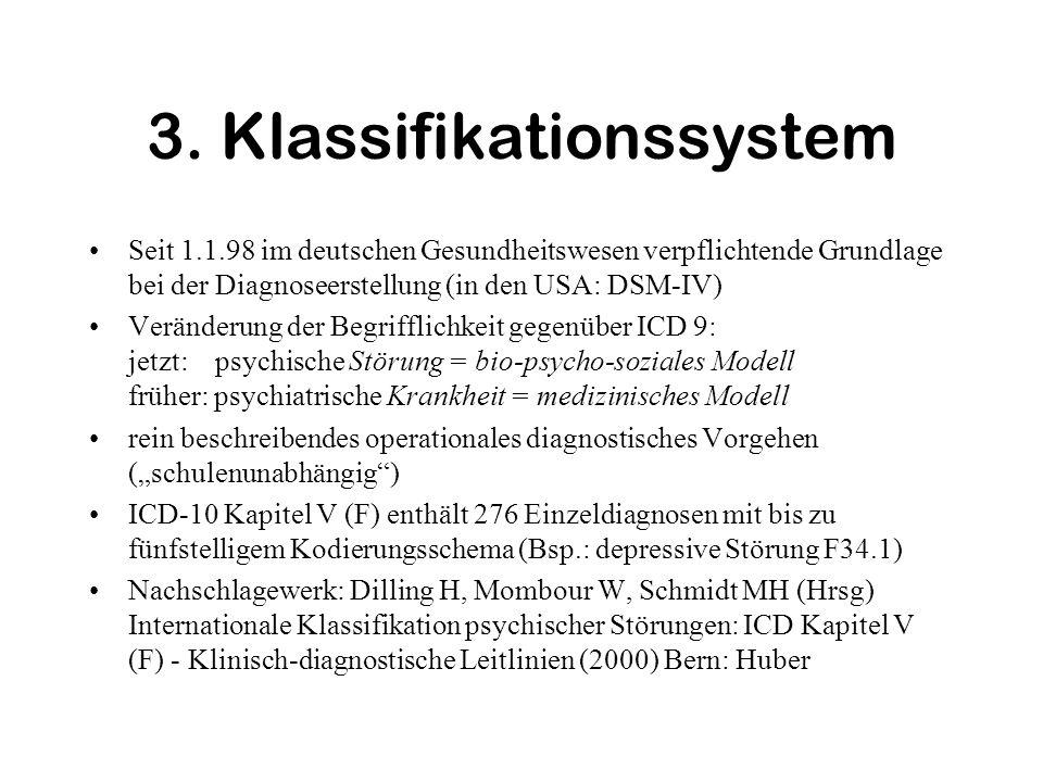 3. Klassifikationssystem Seit 1.1.98 im deutschen Gesundheitswesen verpflichtende Grundlage bei der Diagnoseerstellung (in den USA: DSM-IV) Veränderun
