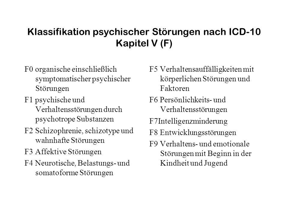 Klassifikation psychischer Störungen nach ICD-10 Kapitel V (F) F0 organische einschließlich symptomatischer psychischer Störungen F1 psychische und Ve