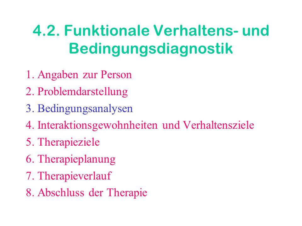 4.2. Funktionale Verhaltens- und Bedingungsdiagnostik 1. Angaben zur Person 2. Problemdarstellung 3. Bedingungsanalysen 4. Interaktionsgewohnheiten un