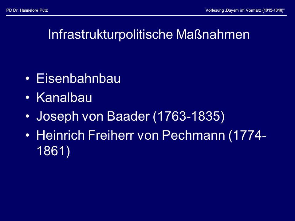 PD Dr. Hannelore PutzVorlesung Bayern im Vormärz (1815-1848) Infrastrukturpolitische Maßnahmen Eisenbahnbau Kanalbau Joseph von Baader (1763-1835) Hei