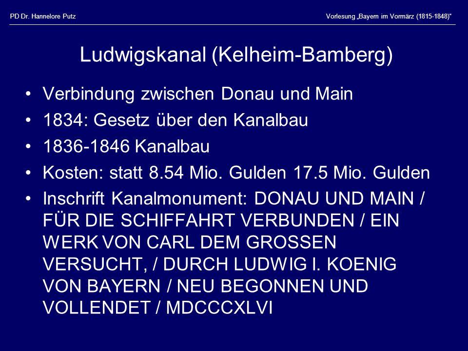 PD Dr. Hannelore PutzVorlesung Bayern im Vormärz (1815-1848) Ludwigskanal (Kelheim-Bamberg) Verbindung zwischen Donau und Main 1834: Gesetz über den K