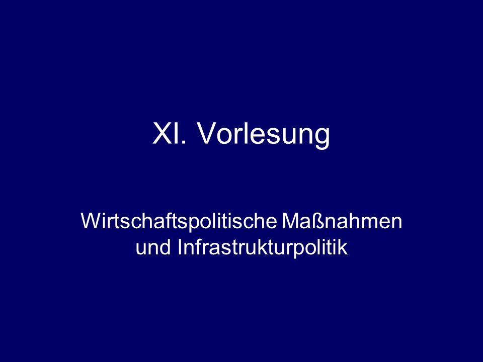 XI. Vorlesung Wirtschaftspolitische Maßnahmen und Infrastrukturpolitik