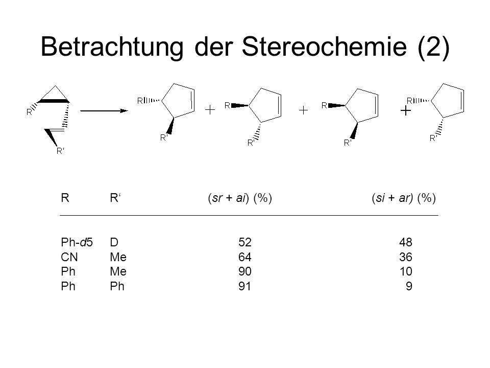 Betrachtung der Stereochemie (2) R R (sr + ai) (%) (si + ar) (%) Ph-d5 D 52 48 CN Me 64 36 PhMe 90 10 PhPh 91 9