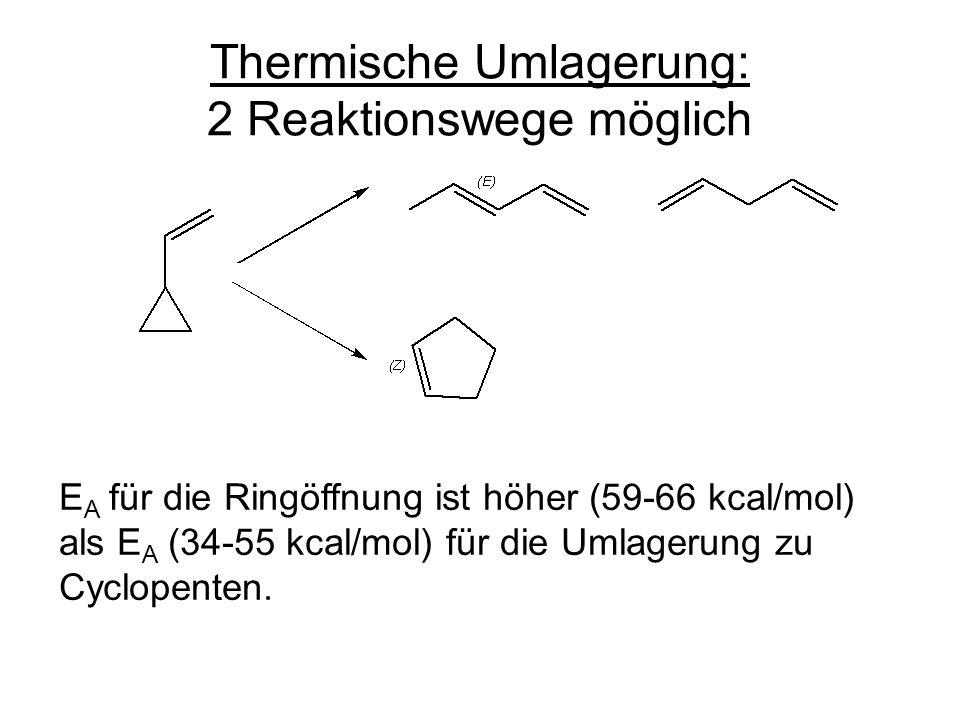 Thermische Umlagerung: 2 Reaktionswege möglich E A für die Ringöffnung ist höher (59-66 kcal/mol) als E A (34-55 kcal/mol) für die Umlagerung zu Cyclopenten.