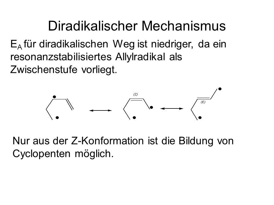 Diradikalischer Mechanismus Nur aus der Z-Konformation ist die Bildung von Cyclopenten möglich.