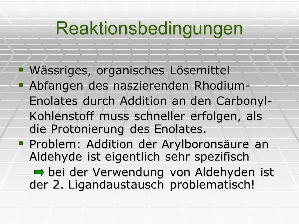 Reaktionsbedingungen Wässriges, organisches Lösemittel Wässriges, organisches Lösemittel Abfangen des naszierenden Rhodium- Abfangen des naszierenden