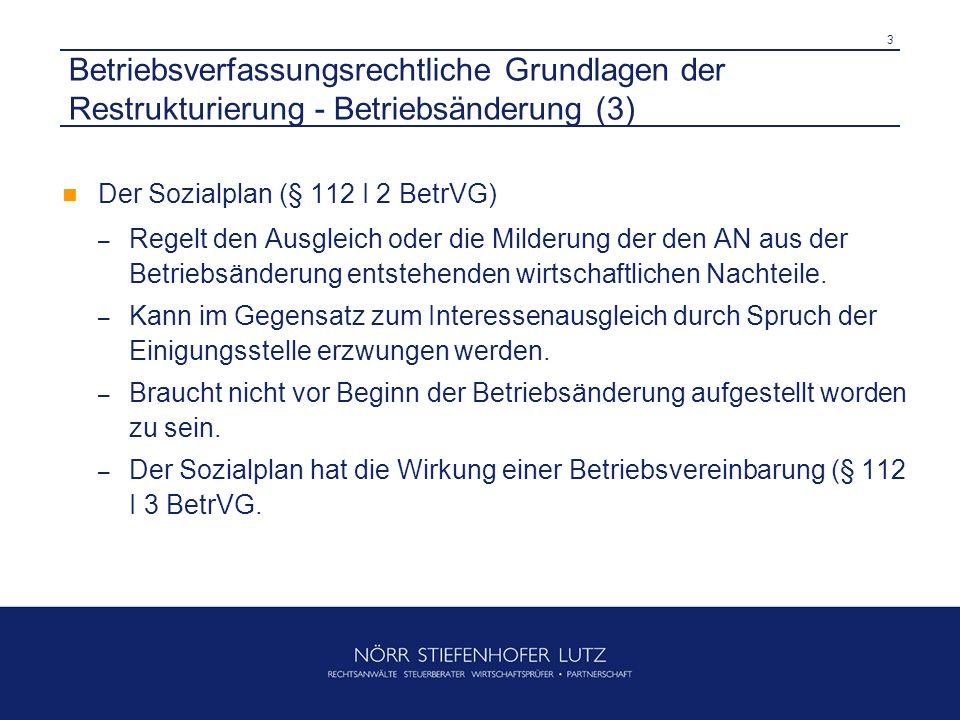 3 Betriebsverfassungsrechtliche Grundlagen der Restrukturierung - Betriebsänderung (3) Der Sozialplan (§ 112 I 2 BetrVG) – Regelt den Ausgleich oder d