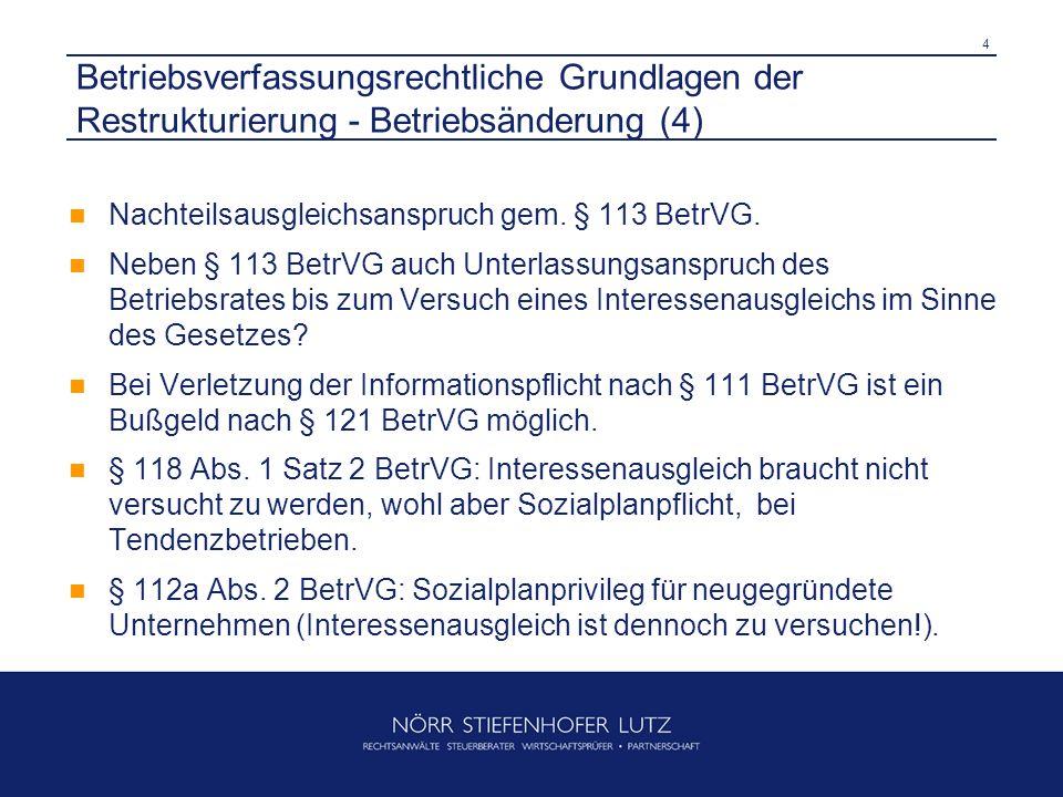 4 Betriebsverfassungsrechtliche Grundlagen der Restrukturierung - Betriebsänderung (4) Nachteilsausgleichsanspruch gem. § 113 BetrVG. Neben § 113 Betr