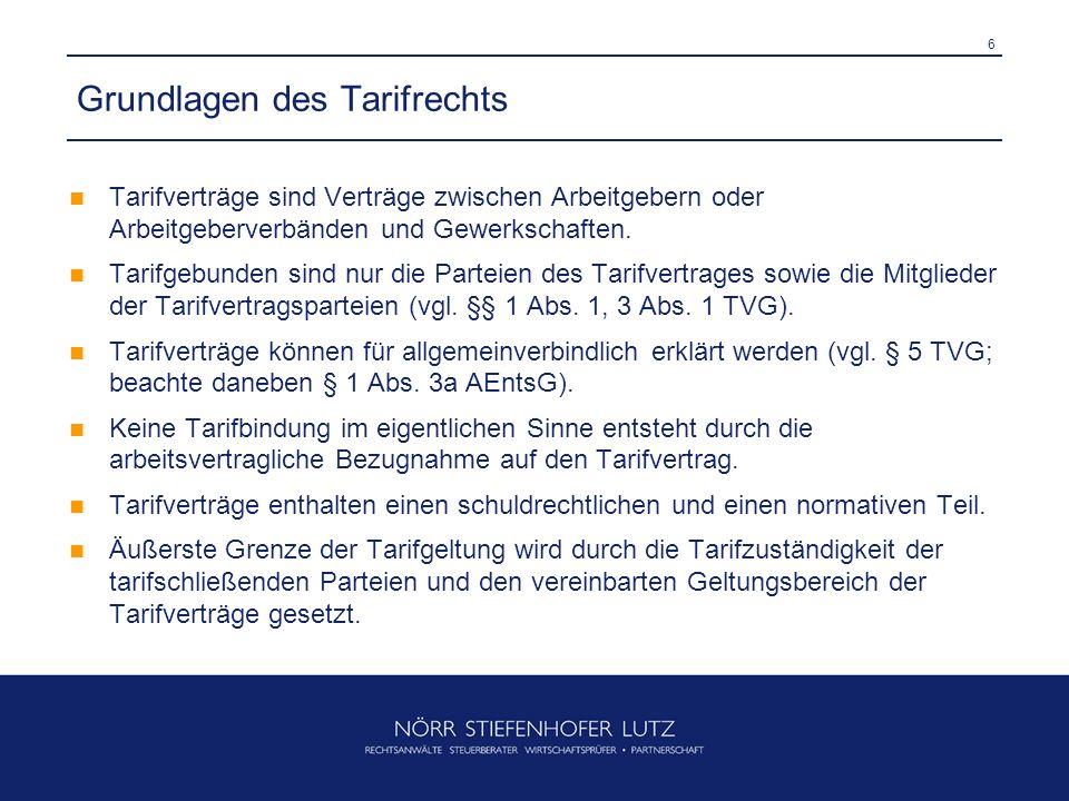 6 Grundlagen des Tarifrechts Tarifverträge sind Verträge zwischen Arbeitgebern oder Arbeitgeberverbänden und Gewerkschaften. Tarifgebunden sind nur di