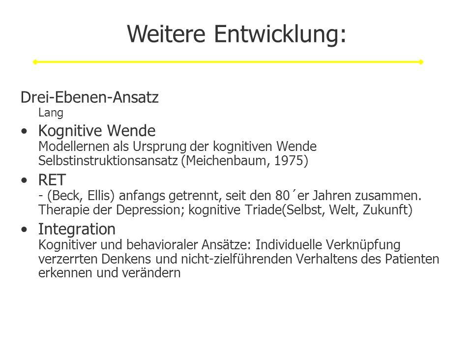 Drei-Ebenen-Ansatz Lang Kognitive Wende Modellernen als Ursprung der kognitiven Wende Selbstinstruktionsansatz (Meichenbaum, 1975) RET - (Beck, Ellis)
