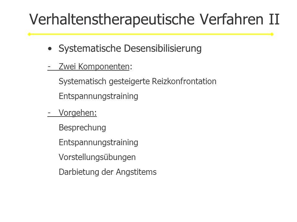 Verhaltenstherapeutische Verfahren II Systematische Desensibilisierung -Zwei Komponenten: Systematisch gesteigerte Reizkonfrontation Entspannungstrain