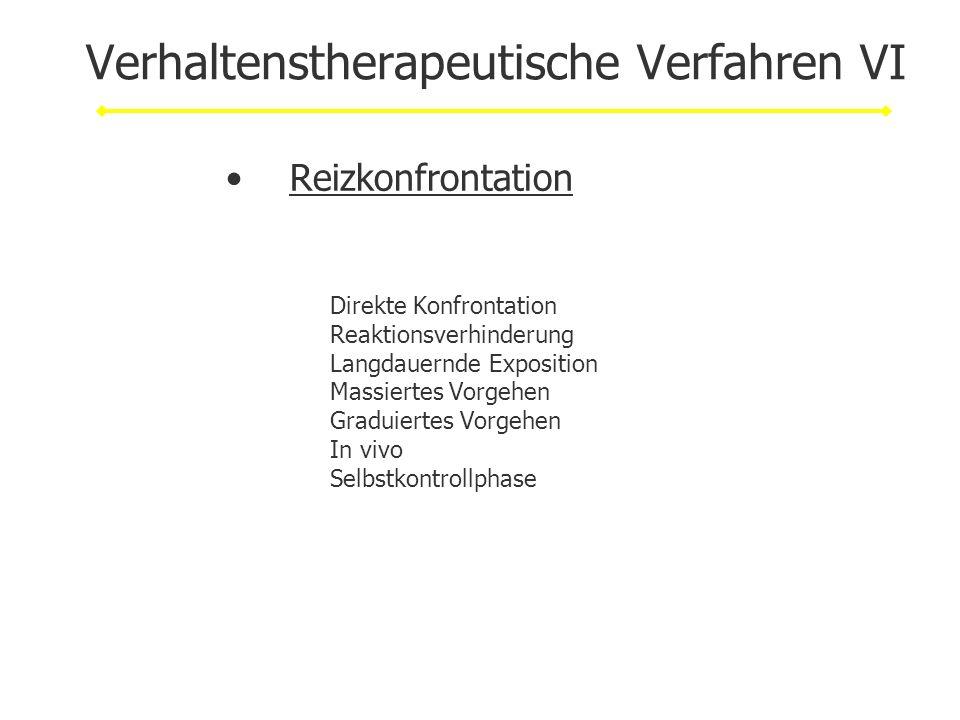 Verhaltenstherapeutische Verfahren VI Reizkonfrontation Direkte Konfrontation Reaktionsverhinderung Langdauernde Exposition Massiertes Vorgehen Gradui