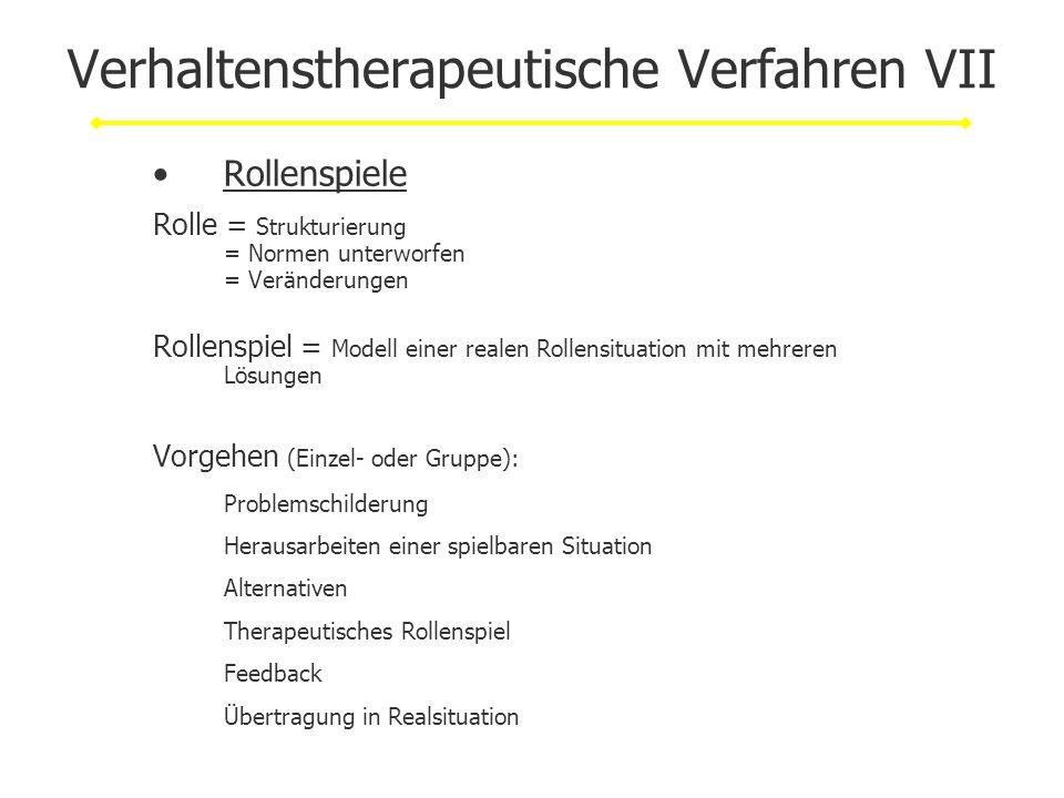 Verhaltenstherapeutische Verfahren VII Rollenspiele Rolle = Strukturierung = Normen unterworfen = Veränderungen Rollenspiel = Modell einer realen Roll