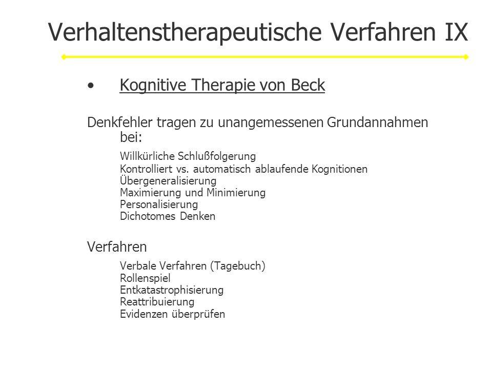 Verhaltenstherapeutische Verfahren IX Kognitive Therapie von Beck Denkfehler tragen zu unangemessenen Grundannahmen bei: Willkürliche Schlußfolgerung