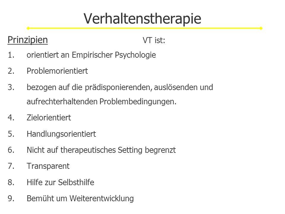 Verhaltenstherapie Prinzipien VT ist: 1.orientiert an Empirischer Psychologie 2.Problemorientiert 3.bezogen auf die prädisponierenden, auslösenden und