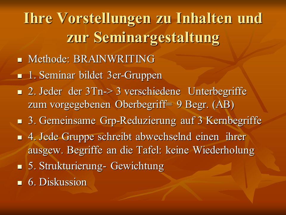 Ihre Vorstellungen zu Inhalten und zur Seminargestaltung Methode: BRAINWRITING Methode: BRAINWRITING 1. Seminar bildet 3er-Gruppen 1. Seminar bildet 3