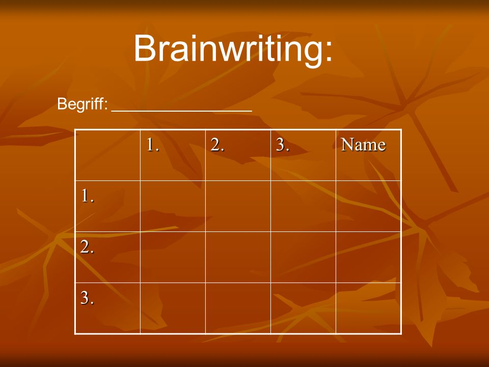 1.2.3.Name 1. 2. 3. Brainwriting: Begriff: _____________________