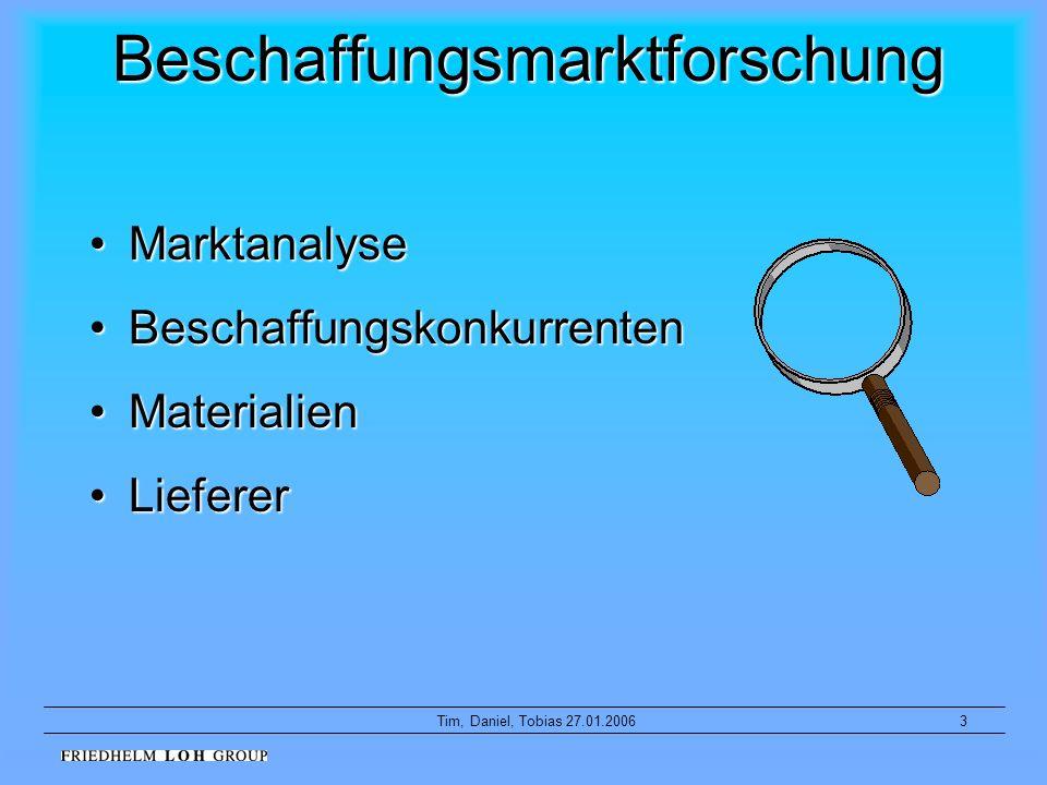 3Tim, Daniel, Tobias 27.01.2006 Beschaffungsmarktforschung MarktanalyseMarktanalyse BeschaffungskonkurrentenBeschaffungskonkurrenten MaterialienMateri