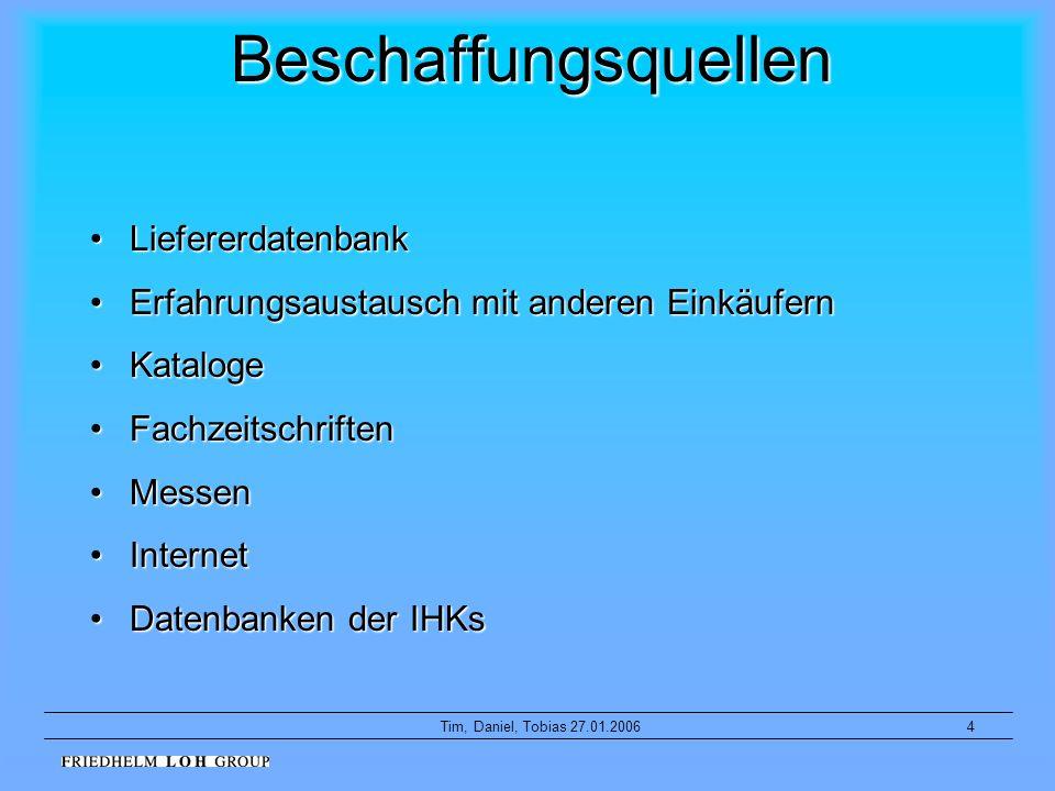 4Tim, Daniel, Tobias 27.01.2006 Beschaffungsquellen LiefererdatenbankLiefererdatenbank ErfahrungsaustauschErfahrungsaustausch mit anderen Einkäufern K