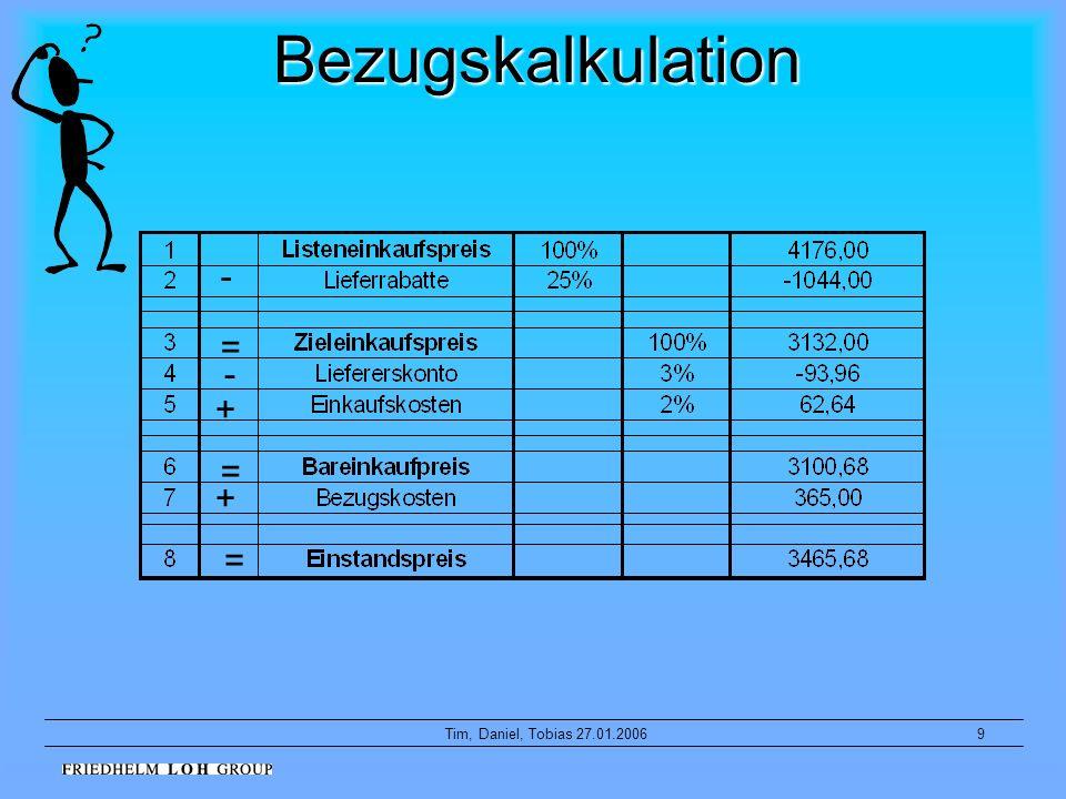 9Tim, Daniel, Tobias 27.01.2006 Bezugskalkulation + + - - = = =