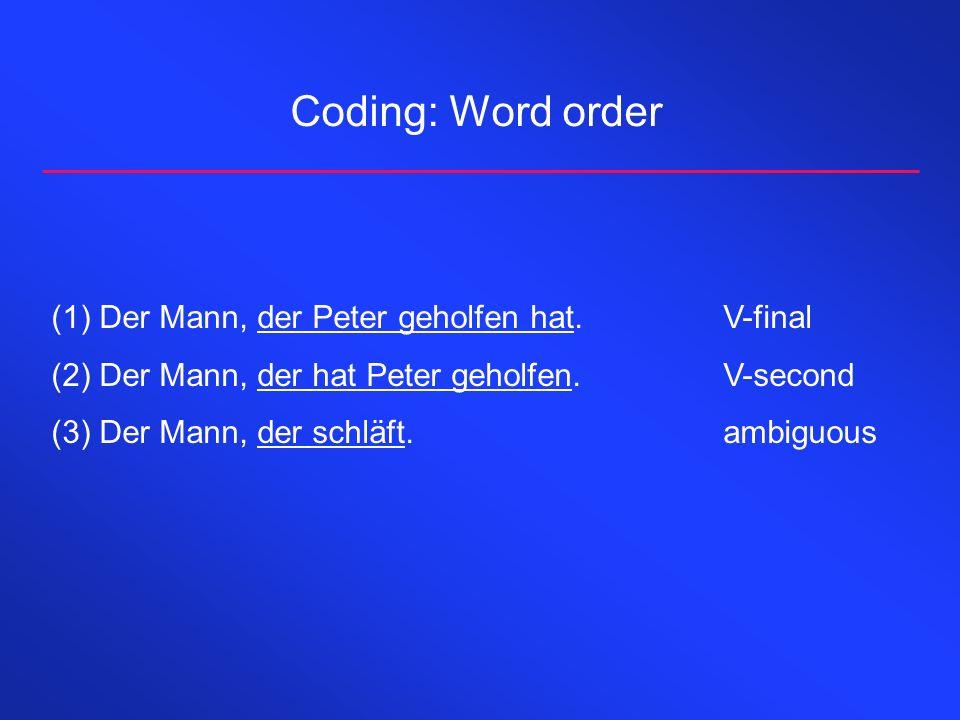 Coding: Word order (1)Der Mann, der Peter geholfen hat.V-final (2)Der Mann, der hat Peter geholfen.V-second (3)Der Mann, der schläft.ambiguous