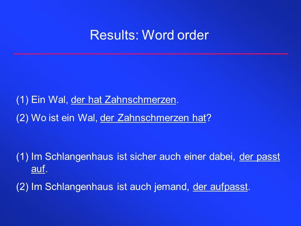 Results: Word order (1)Ein Wal, der hat Zahnschmerzen. (2)Wo ist ein Wal, der Zahnschmerzen hat? (1)Im Schlangenhaus ist sicher auch einer dabei, der