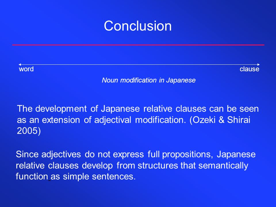 Conclusion The development of Japanese relative clauses can be seen as an extension of adjectival modification. (Ozeki & Shirai 2005) wordclause Noun