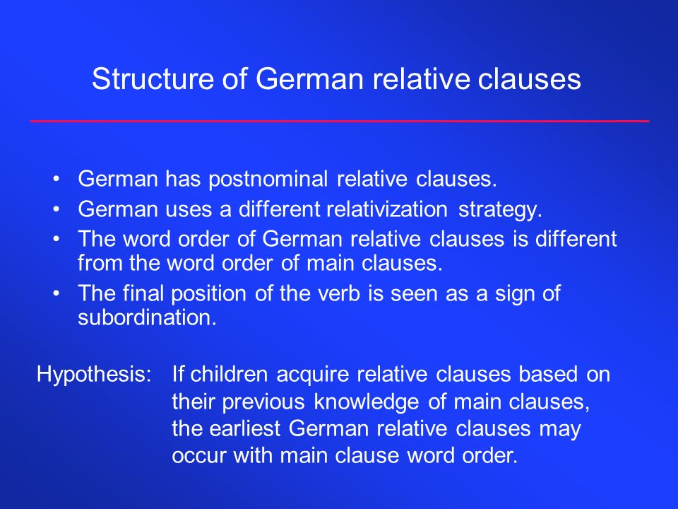 Structure of German subordinate clauses Subordinate clauses serve a particular syntactic function in the main clause.