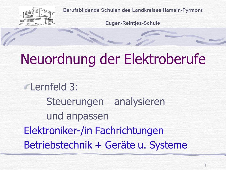 1 Neuordnung der Elektroberufe Berufsbildende Schulen des Landkreises Hameln-Pyrmont Eugen-Reintjes-Schule Lernfeld 3: Steuerungen analysieren und anpassen Elektroniker-/in Fachrichtungen Betriebstechnik + Geräte u.