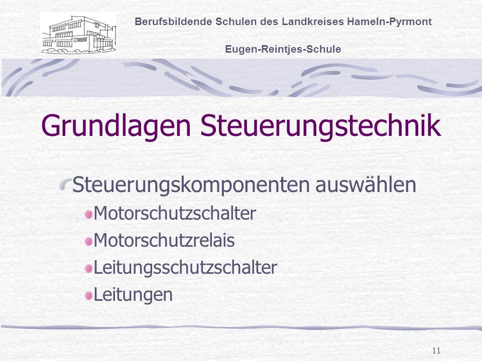 11 Grundlagen Steuerungstechnik Berufsbildende Schulen des Landkreises Hameln-Pyrmont Eugen-Reintjes-Schule Steuerungskomponenten auswählen Motorschutzschalter Motorschutzrelais Leitungsschutzschalter Leitungen
