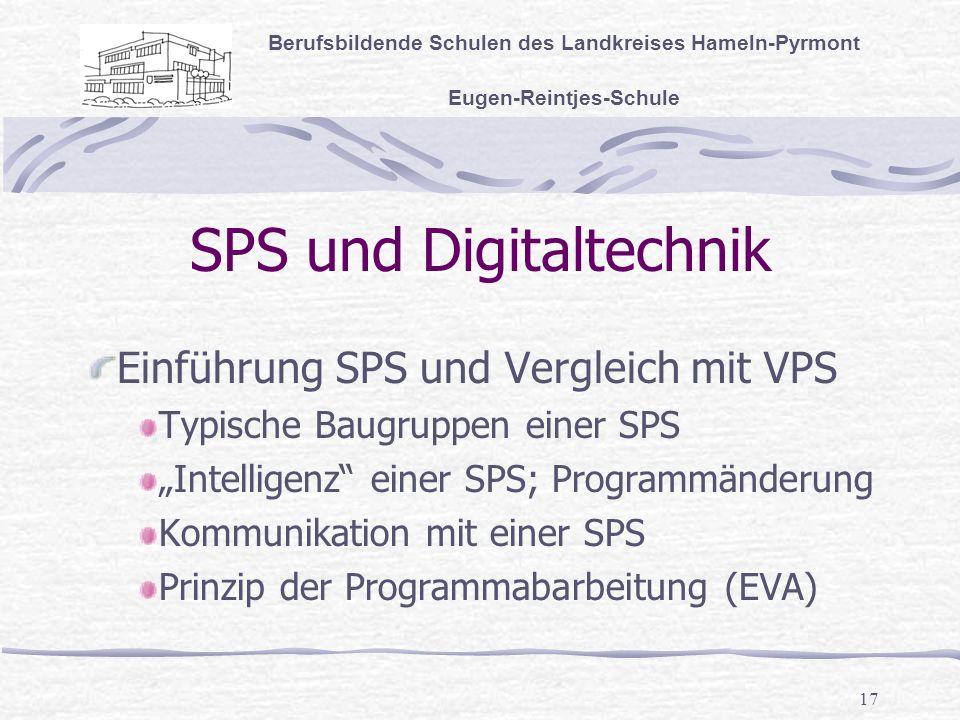 17 SPS und Digitaltechnik Berufsbildende Schulen des Landkreises Hameln-Pyrmont Eugen-Reintjes-Schule Einführung SPS und Vergleich mit VPS Typische Baugruppen einer SPS Intelligenz einer SPS; Programmänderung Kommunikation mit einer SPS Prinzip der Programmabarbeitung (EVA)