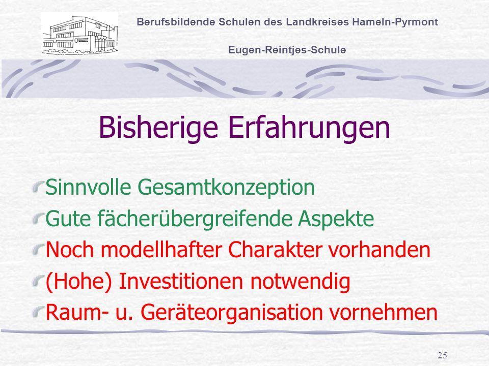 25 Bisherige Erfahrungen Berufsbildende Schulen des Landkreises Hameln-Pyrmont Eugen-Reintjes-Schule Sinnvolle Gesamtkonzeption Gute fächerübergreifende Aspekte Noch modellhafter Charakter vorhanden (Hohe) Investitionen notwendig Raum- u.