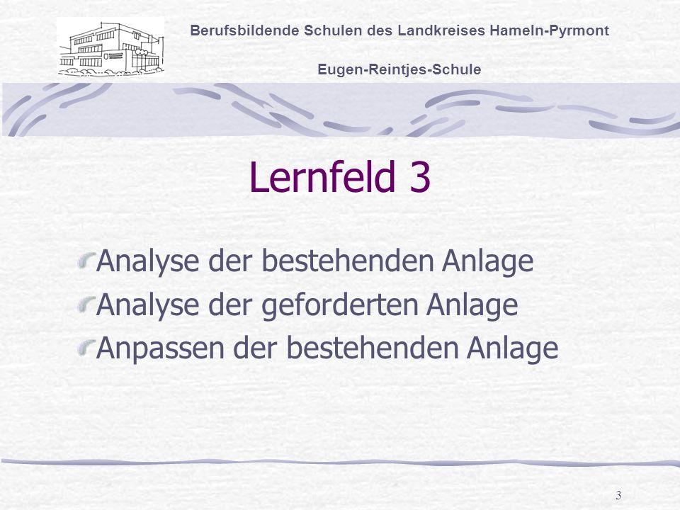 3 Lernfeld 3 Berufsbildende Schulen des Landkreises Hameln-Pyrmont Eugen-Reintjes-Schule Analyse der bestehenden Anlage Analyse der geforderten Anlage Anpassen der bestehenden Anlage