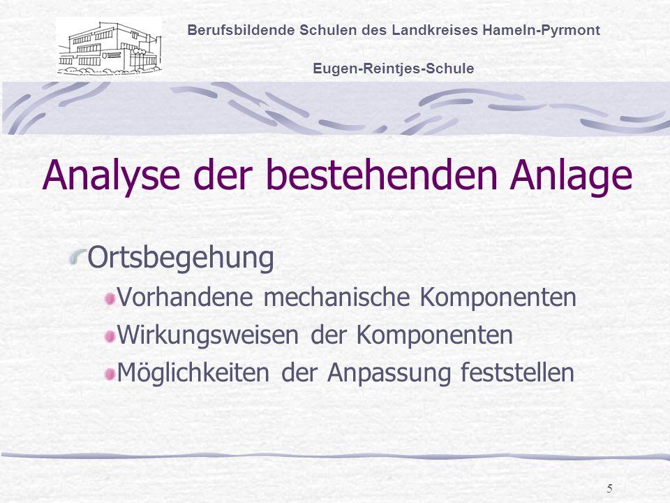5 Analyse der bestehenden Anlage Berufsbildende Schulen des Landkreises Hameln-Pyrmont Eugen-Reintjes-Schule Ortsbegehung Vorhandene mechanische Komponenten Wirkungsweisen der Komponenten Möglichkeiten der Anpassung feststellen