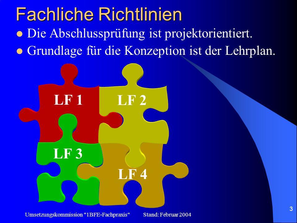 Umsetzungskommission 1BFE-Fachpraxis Stand: Februar 2004 14 Weitere Informationen Internetadressen in den LF-Handreichungen www.lernfelder.schule-bw.de Herstellen von CAD-Zeichnungen u.s.w.