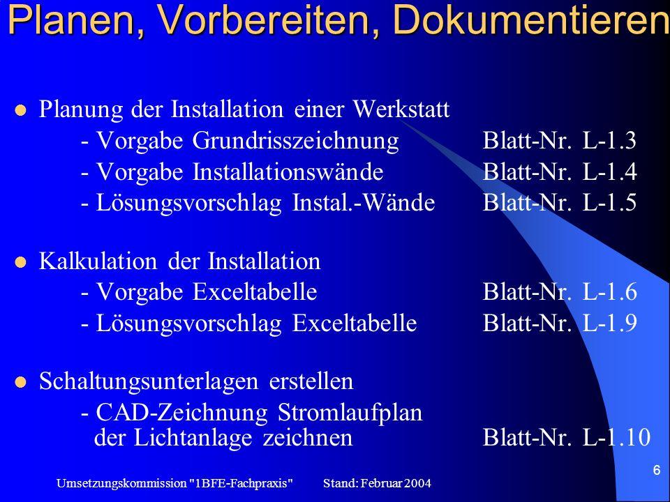 Umsetzungskommission 1BFE-Fachpraxis Stand: Februar 2004 7 Herstellen und Montieren Installationstechnik –Stromstoßschaltung Kommunikationstechnik –ISDN Telefonanlage Steuerungstechnik –Rolltorsteuerung –Platine (könnte 30% schulischer Anteil sein)