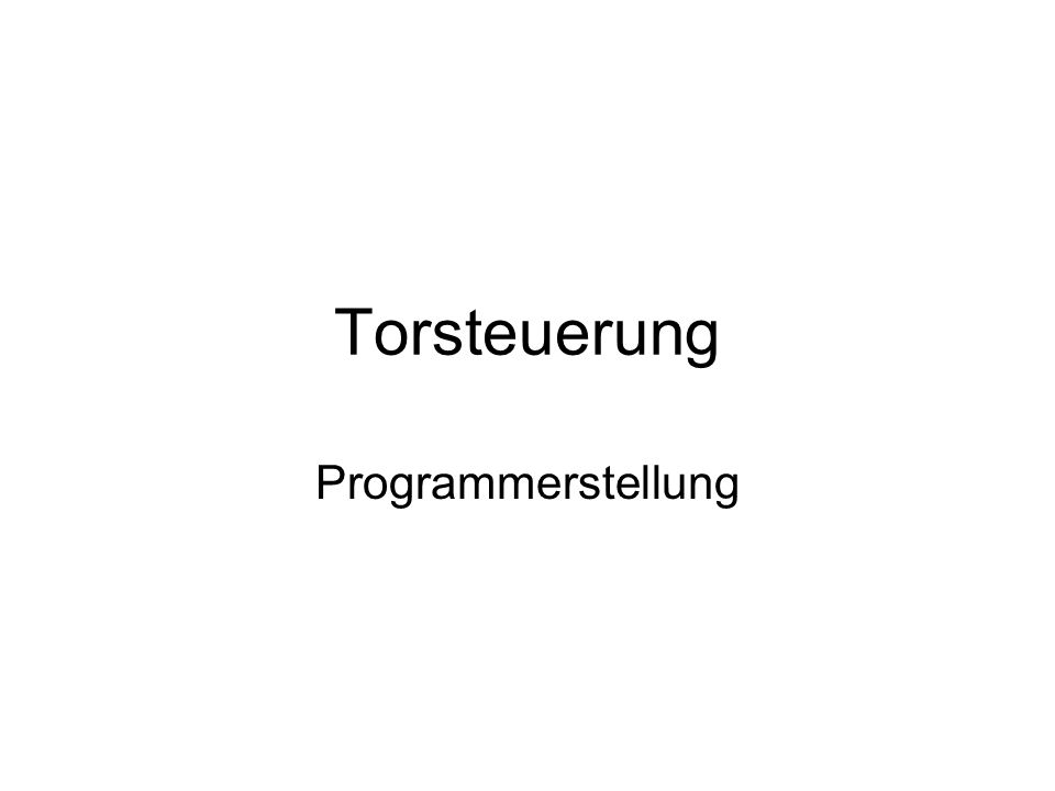 Torsteuerung Programmerstellung