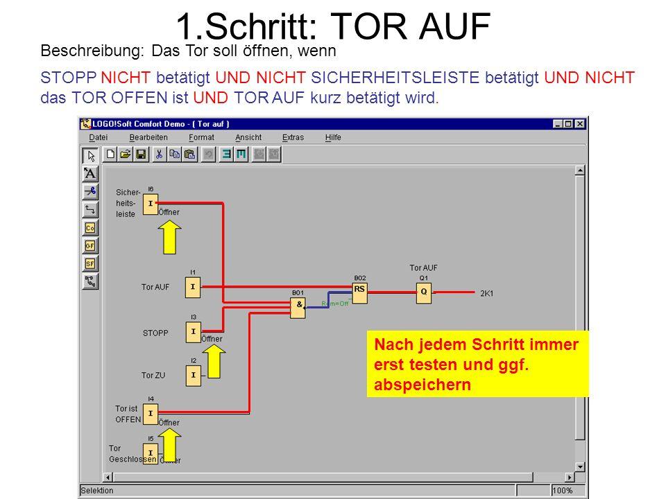 1.Schritt: TOR AUF Beschreibung: Das Tor soll öffnen, wenn STOPP NICHT betätigt UND NICHT SICHERHEITSLEISTE betätigt UND NICHT das TOR OFFEN ist UND T