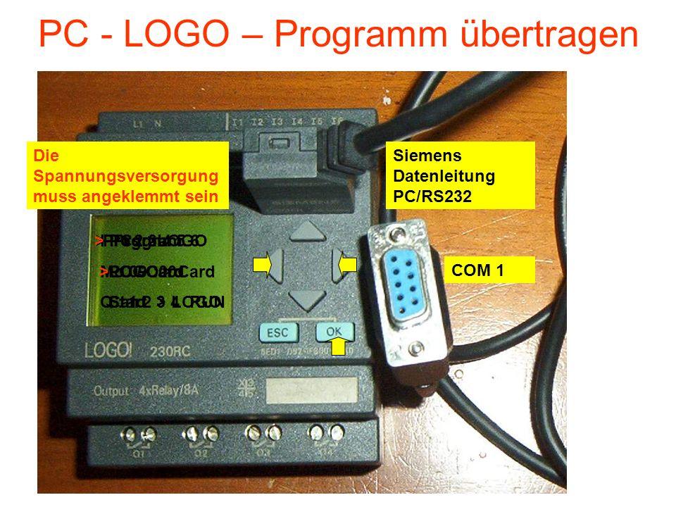 PC - LOGO – Programm übertragen Die Spannungsversorgung muss angeklemmt sein COM 1 Siemens Datenleitung PC/RS232 I : 1 2 3 4 5 6 Mo 09 :00 Q : 1 2 3 4