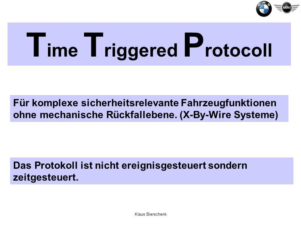 Klaus Bierschenk T ime T riggered P rotocoll Für komplexe sicherheitsrelevante Fahrzeugfunktionen ohne mechanische Rückfallebene. (X-By-Wire Systeme)