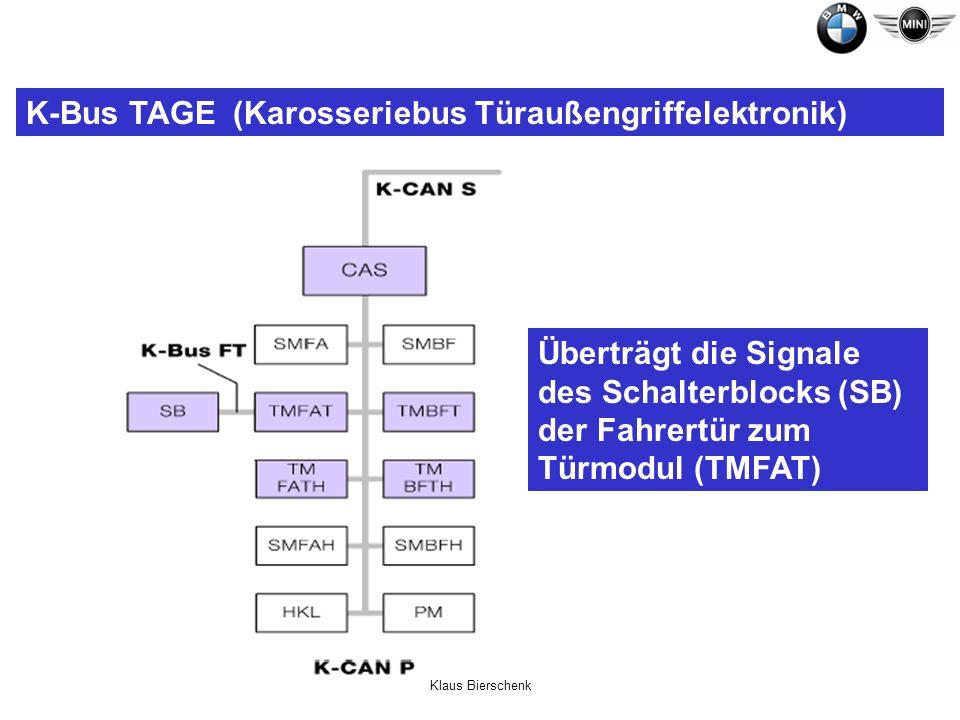 Klaus Bierschenk K-Bus TAGE (Karosseriebus Türaußengriffelektronik) Überträgt die Signale des Schalterblocks (SB) der Fahrertür zum Türmodul (TMFAT)