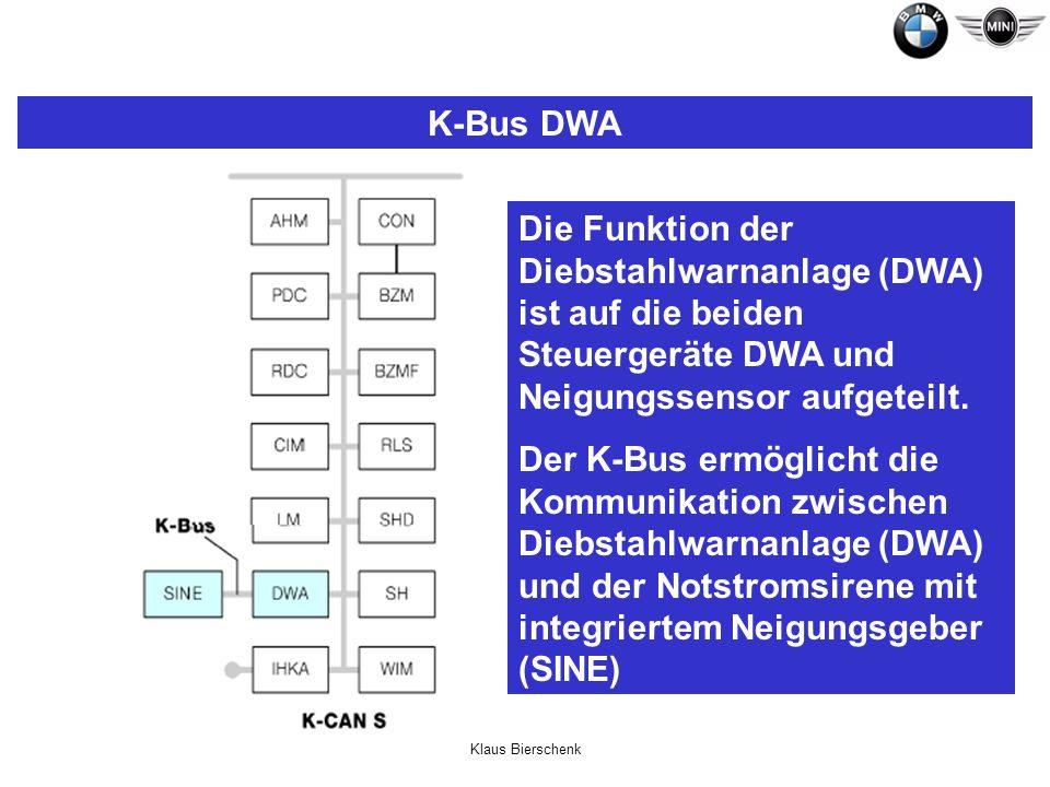 Klaus Bierschenk K-Bus DWA Die Funktion der Diebstahlwarnanlage (DWA) ist auf die beiden Steuergeräte DWA und Neigungssensor aufgeteilt. Der K-Bus erm