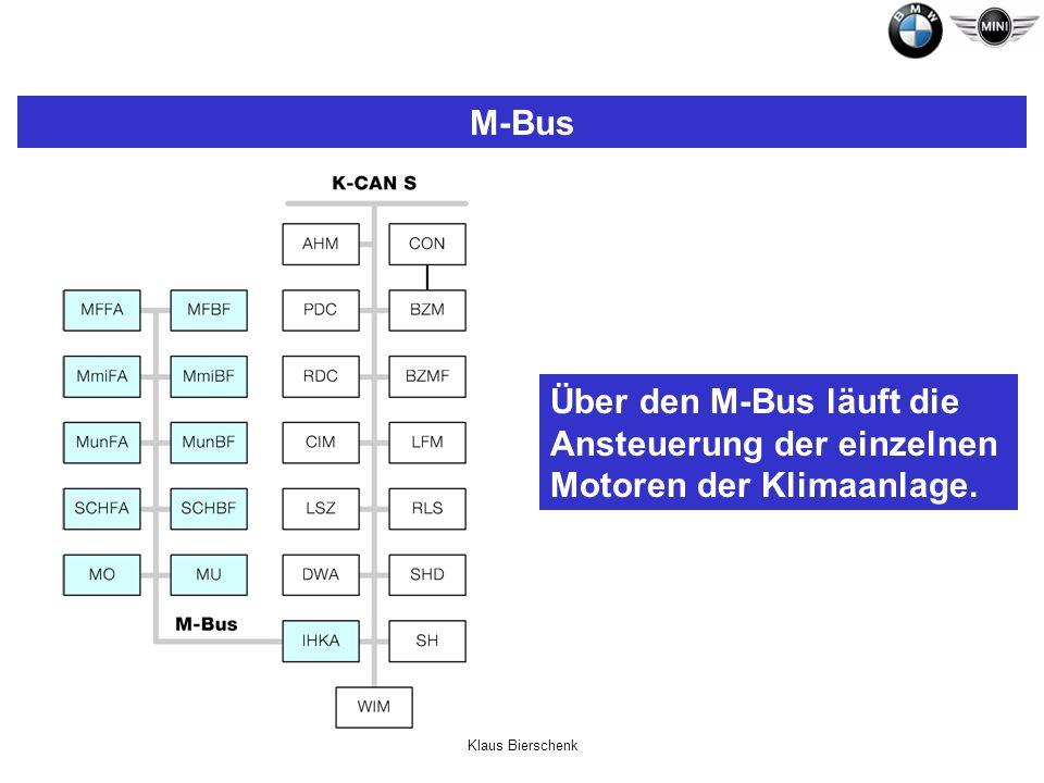 Klaus Bierschenk M-Bus Über den M-Bus läuft die Ansteuerung der einzelnen Motoren der Klimaanlage.