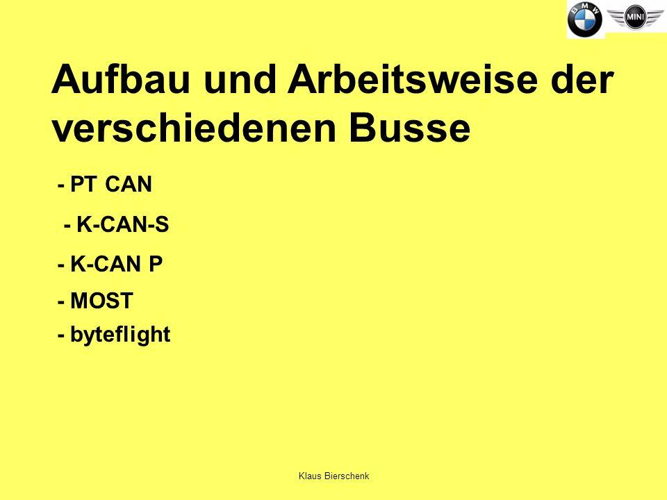Klaus Bierschenk Aufbau und Arbeitsweise der verschiedenen Busse - PT CAN - K-CAN-S - K-CAN P - MOST - byteflight