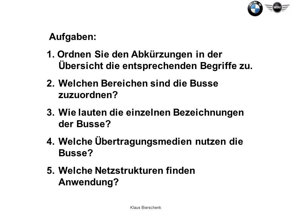Klaus Bierschenk Aufgaben: 1. Ordnen Sie den Abkürzungen in der Übersicht die entsprechenden Begriffe zu. 2.Welchen Bereichen sind die Busse zuzuordne